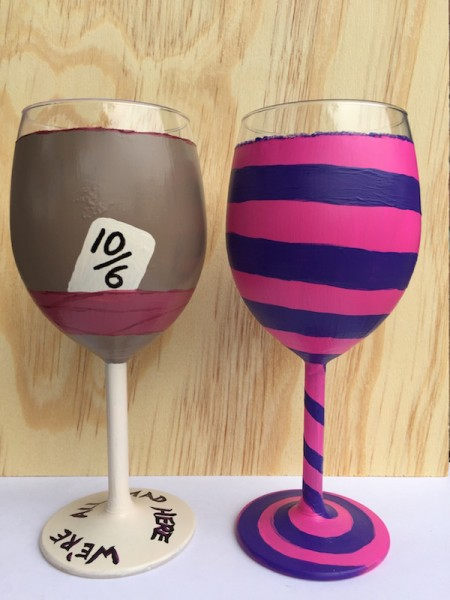 Alice in Wonderland Mad Hatter and Cheshire Cat Wine Glasses