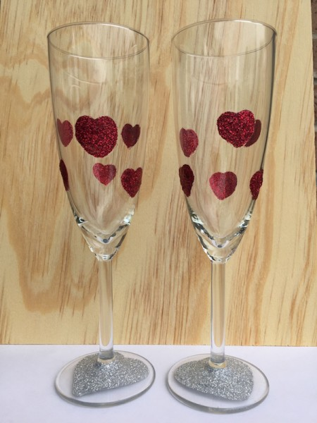Red Glitter Hearts Toasting Flutes