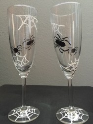 Spiderweb and Spider Sparkling Wine Glasses