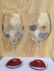Valentine's Day Silver Glitter Heart Wine Glass