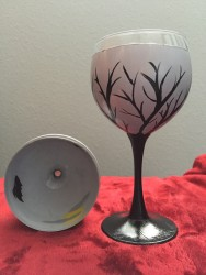 Spooky Branch and Bats Painted Wine Glass